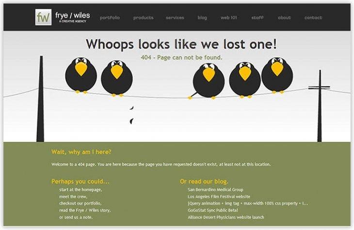 . Fryewiles.com Error message