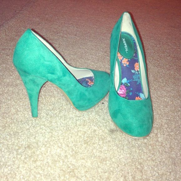 Xappeal teal heals 4 inch heels. Suede material. Teal color. Lightly worn, great condition Shoes Heels