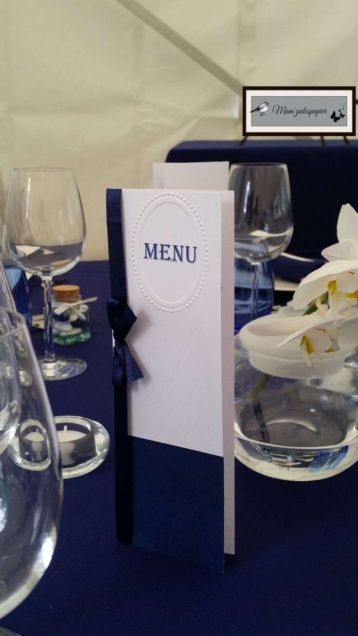 menu mariage bleu marine et blanc  mariage civile Sarah et Jean ...