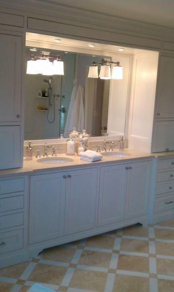 white painted inset vanity