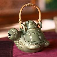 Ceramic teapot, 'Turtle Mom' $33.05