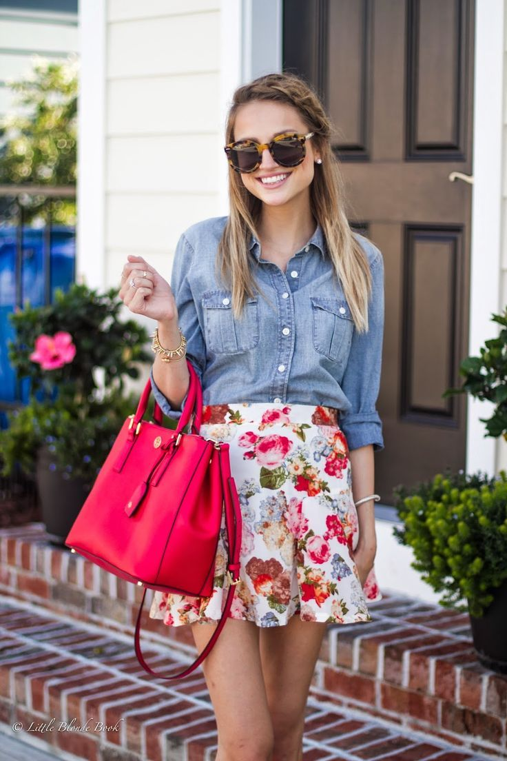 Chambray Button Down Shirt tucked in to a Floral Skirt with Sunglasses and Bag  - School Appropriate Outfit