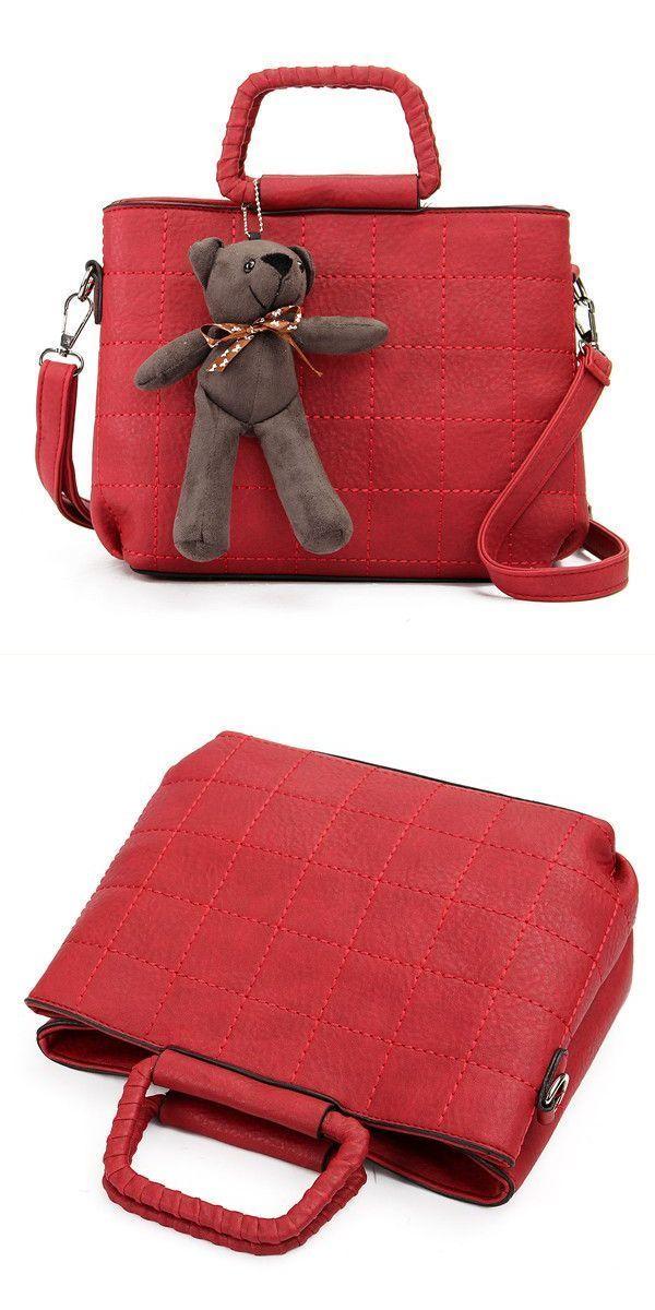 U e handbags retro women pu leather plaid bear handbags ladies elgant shoulder  bags crossbody bags  h  amp   co  handbags  handbags  at  ross  handbags ... 3cc0503768