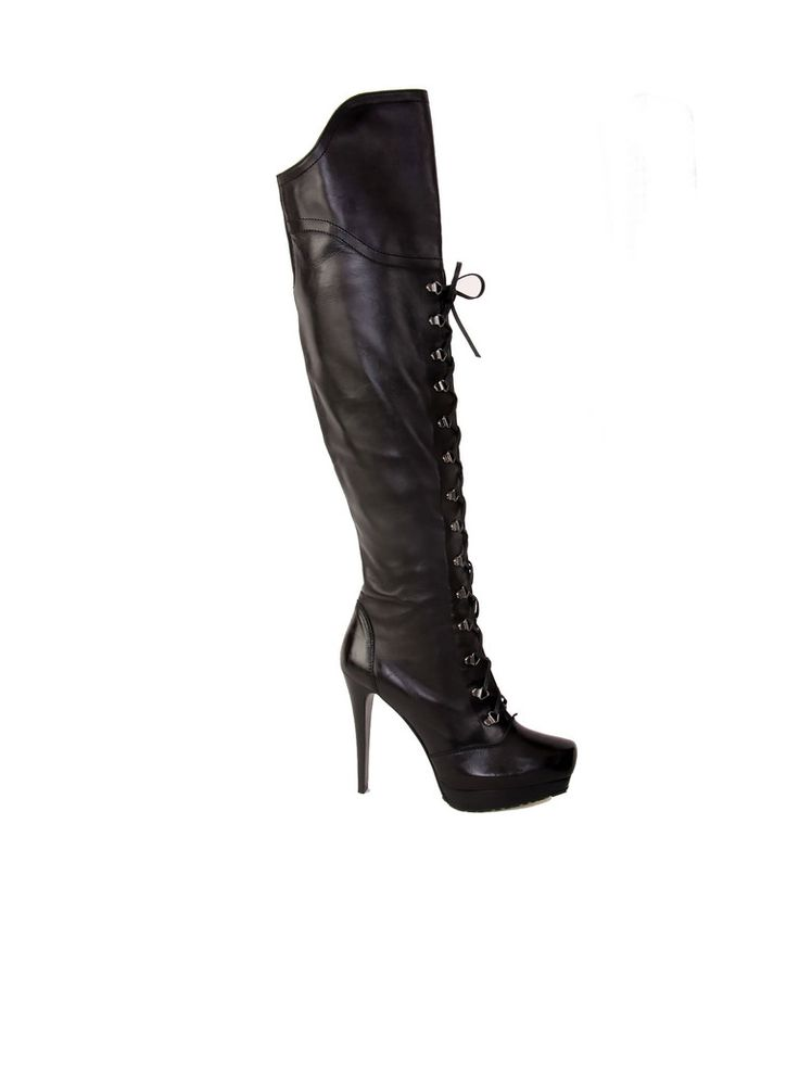 Stuart Weitzman | Laced-Up Thigh-High Leather Boots in black www.sabrinascloset.com