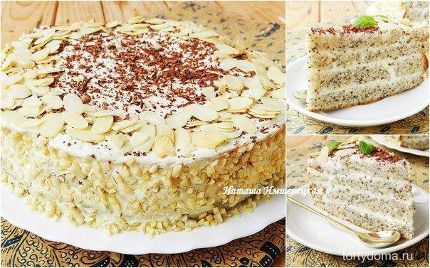 Маковый торт с творожным кремом  Рецепт макового торта давно находится в моей кулинарной копилке. Это замечательный торт для семейного праздника. Коржи на сметане получаются довольно мягкими, не требуют дополнительной пропитки. Очень вкусный и нежный творожный крем с приятной лимонной ноткой делает торт особенно привлекательным.  Для приготовления макового торта понадобится: Для коржей: 3 яйца; 1 стакан сахара; 1,5 стакана муки; 1 ч.л. разрыхлителя; 250 г сметаны; 100 г готовой маковой…
