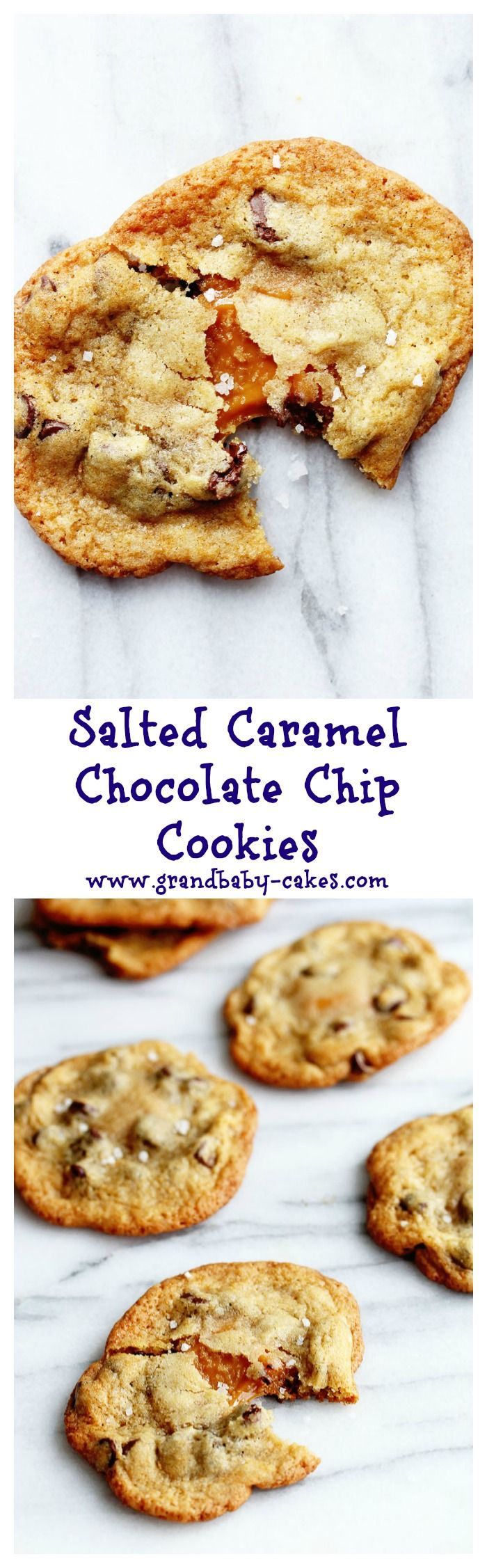Insanely Delicious Salted Caramel Chocolate Chip Cookies! ~ http://www.grandbaby-cakes.com