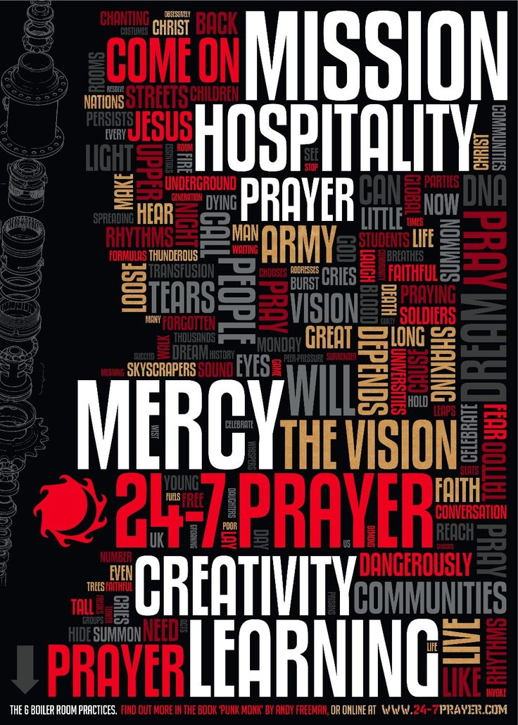 24-7 Prayer Poster of the core values for doing ministry ...