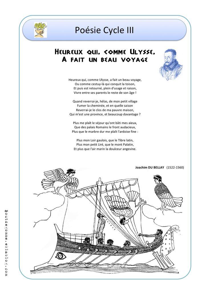 Chants Cycle 3 - Bout de gomme. Heureux qui comme Ulysse. Excellent + lien textes mythologiques!