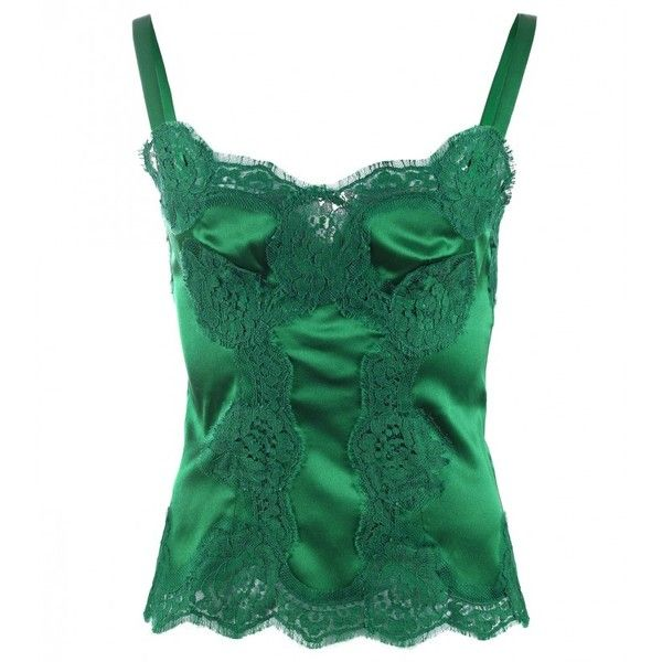 Dolce & Gabbana Green Silk Lace Detail Cami Top (€745) ❤ liked on Polyvore featuring tops, silk camisole, silk camisole tops, camisole tops, cami tank tops and scalloped tank top