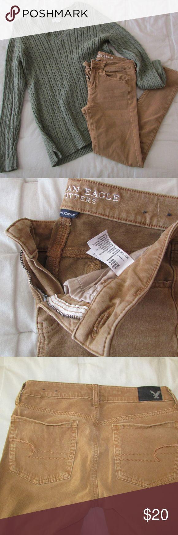 American Eagle Sateen Khaki Pants American Eagle Sateen Khaki Pants Size 2 American Eagle Outfitters Pants Skinny