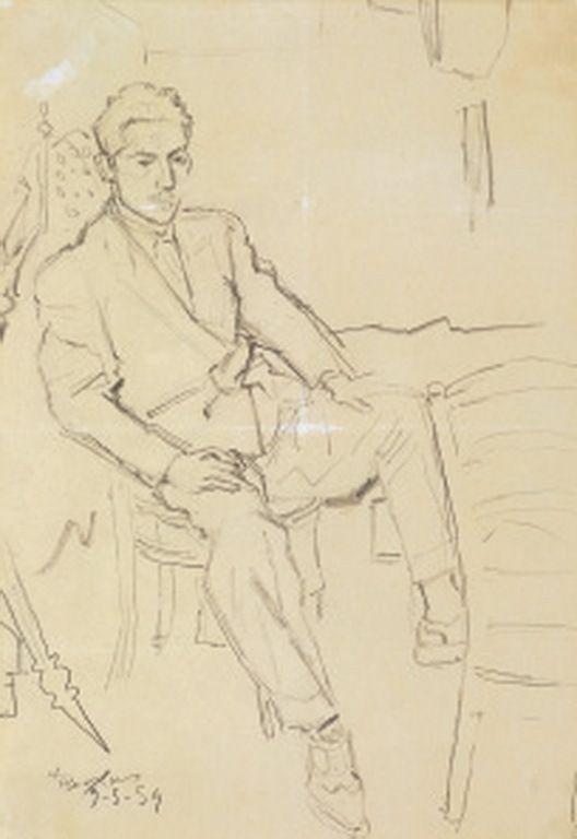 Τσαρούχης Γιάννης -Καθισμένος άνδρας, 1954 – Yannis Tsarouchis [1910-1989] | paletaart – Χρώμα & Φώς