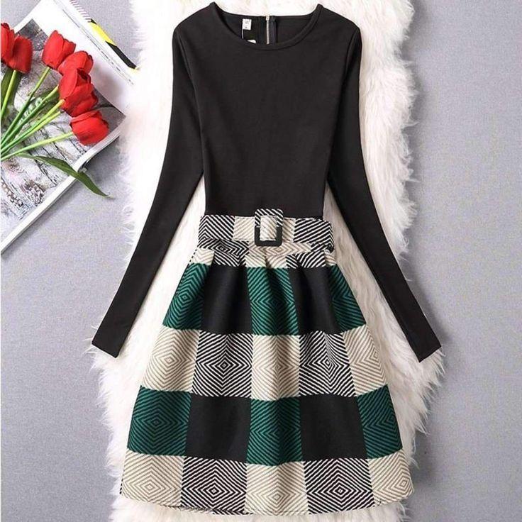 Long Sleeve Elegant Printed A-Line Women Mini Dress