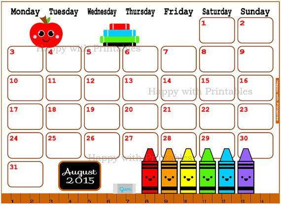 cute august 2015 calendar