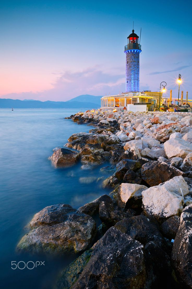 Old lighthouse in Patras, Greece - converted to a coffee shop