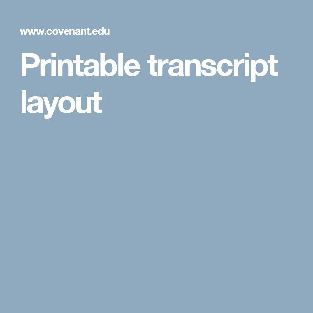 Printable transcript layout