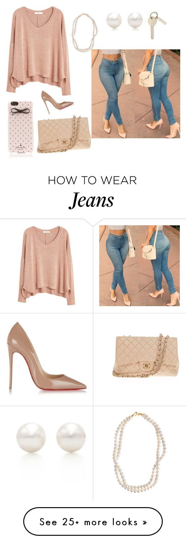 """""""Nude and jeans"""" by lovelydarkangel on Polyvore featuring MANGO, STELLA McCARTNEY, Tiffany & Co., Kate Spade, Christian Louboutin and Chanel"""