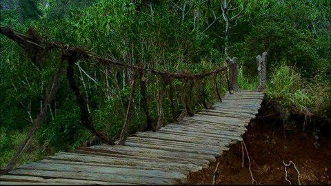 Remember this bridge from Season 1? Hurley & Charlie cross it safely but it comes apart for Jack. Very quick n forgotten scene