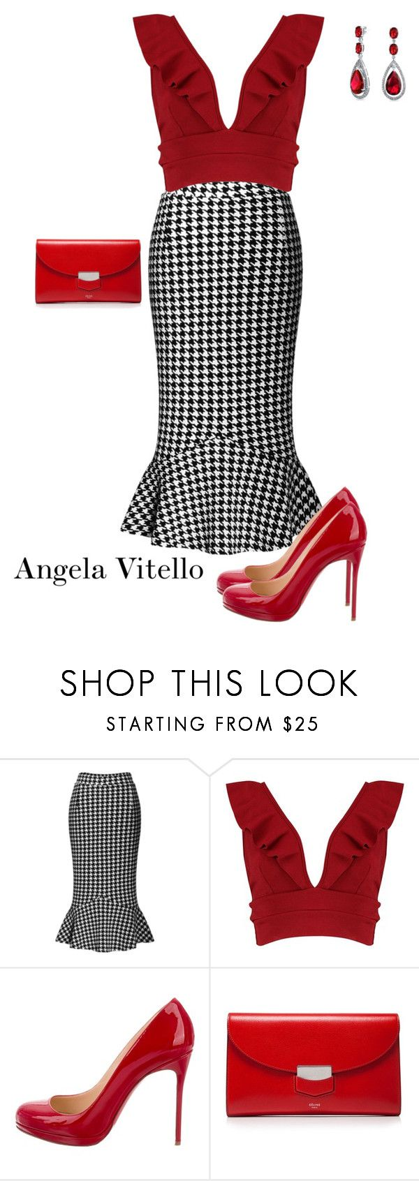 """""""Untitled #1078"""" by angela-vitello on Polyvore featuring WithChic, Boohoo, Christian Louboutin, CÉLINE and Bling Jewelry"""