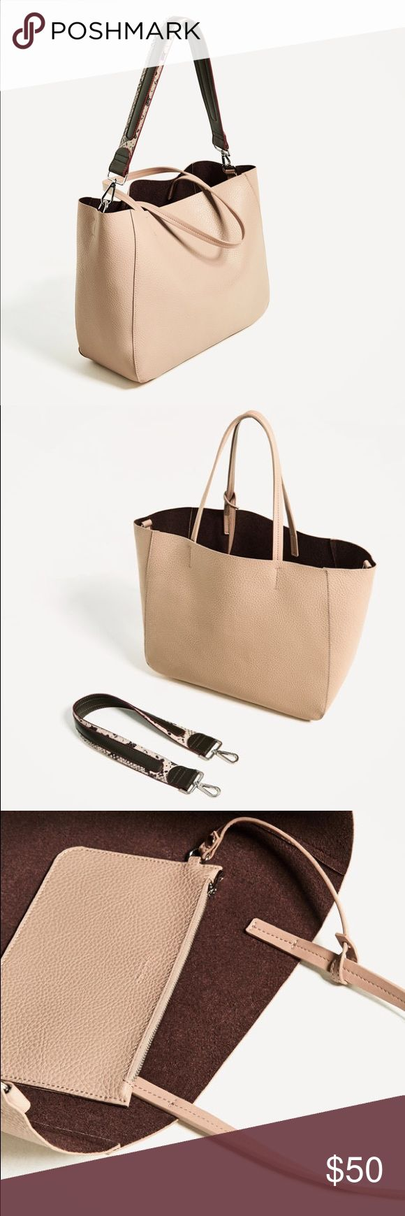 Zara tote bag with printed strap Nude. Comes with a inside little purse Zara Bags Totes