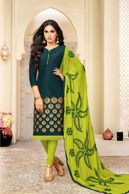 9fcf71b60f Wide banaras silk Designer Churidar Suit in Dark Green With Dupatta ...