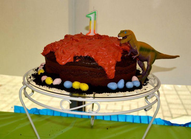 Dinosaur volcano lava birthday cake