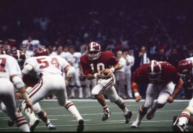Alabama quarterback Steadman Shealy (10) runs with the ball against Arkansas in the Sugar Bowl at the Louisiana Superdome in New Orleans on Jan. 1, 1980. Alabama won the game 24-9. (Birmingham News file) #Alabama #RollTide #Bama #BuiltByBama #RTR #CrimsonTide #RammerJammer