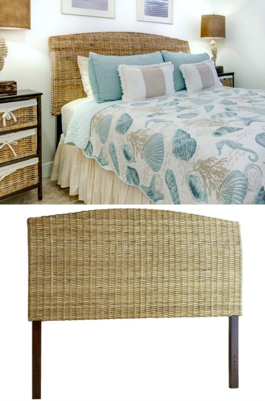 Rattan Woven Headboard in Beach Theme Bedroom... http://www.completely-coastal.com/2017/03/beds-headboards-for-coastal-decorating.html