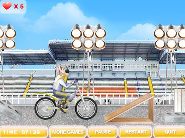 New free motorbike racing sport skill game by Play-Free-Arcade.com Ride the motorcycle from the start to the finish overcoming countless barriers. Use arrows and space bar to rule. There are 20 levels next one is harder than the previous one so skill and publish the best results online. Absolute freeware!