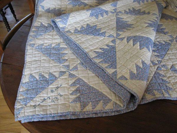 vintage blue and white quilt