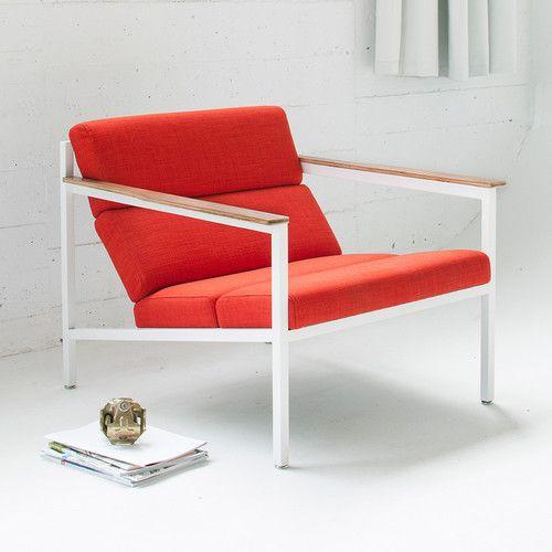 Gus Modern   Halifax Chair   Laurentian Sunset/White   #modernlivingroom  #redchairs