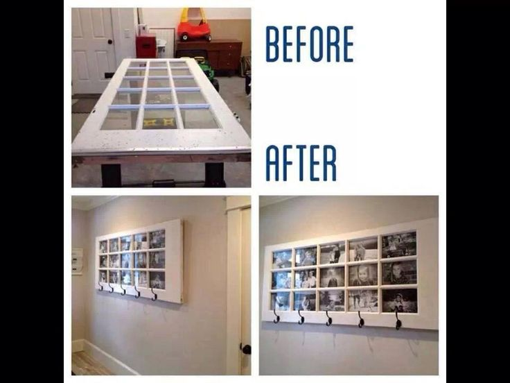 Coat holder and picture frames from recycled door