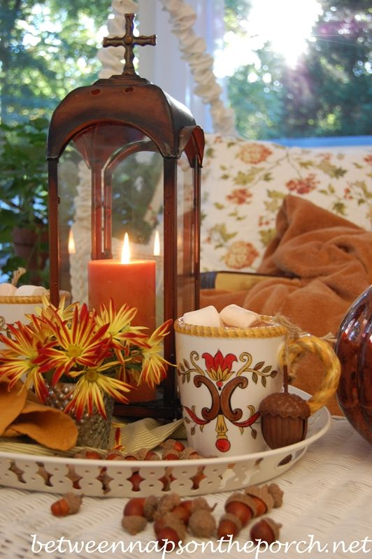 Hot Chocolate Table Setting Tablescape for Fall with Between Naps on the Porch