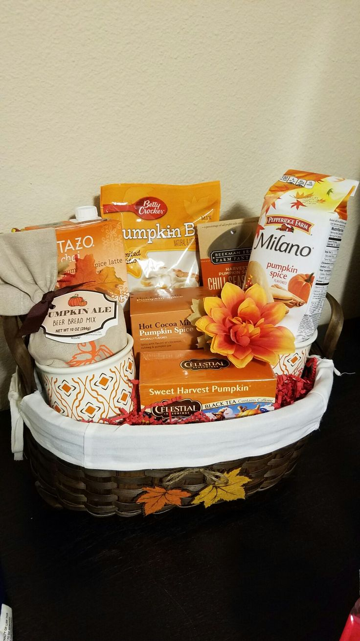Pumpkin Fall Themed Gift Basket. Silent auction fundraiser for work (2016)