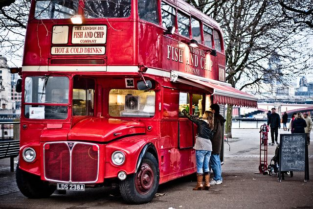 The Fish And Chip Bus.  Great British food in a Great British setting.