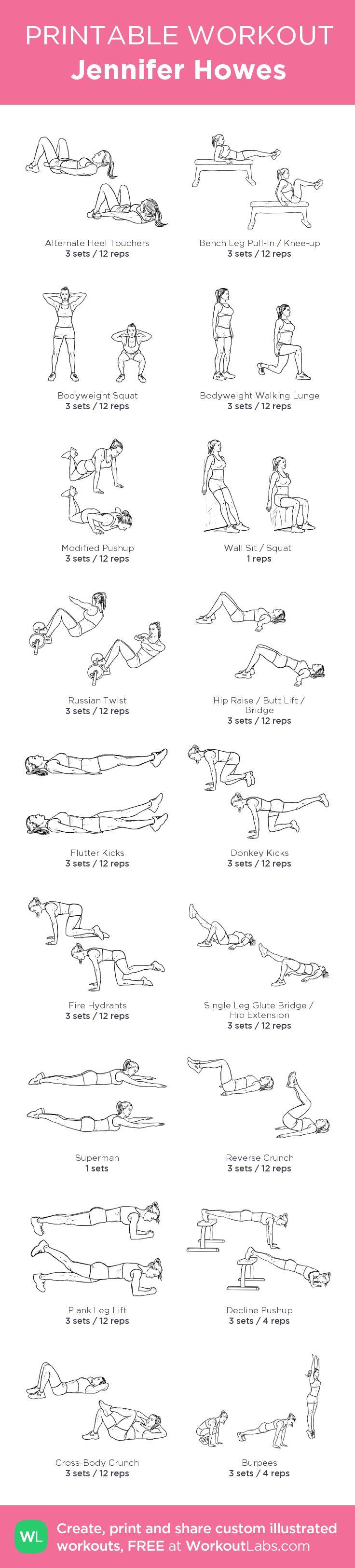 Jennifer Howes:my custom printable workout by @WorkoutLabs #workoutlabs #customworkout