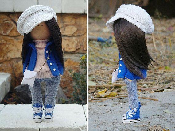 Decor bambola fatta a mano blue jeans di AnnKirillartPlace su Etsy