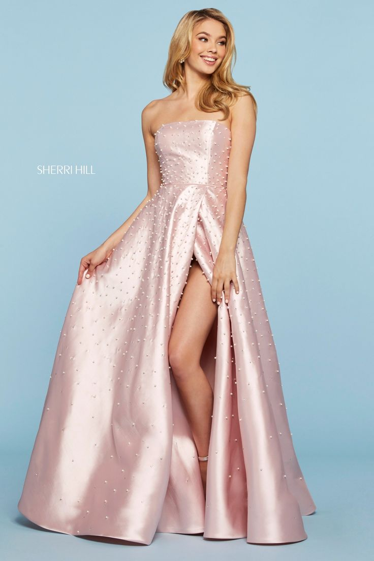 This beautiful Sherri Hill strapless mikado A-line gown features pearl and crystal embellishments, a slit skirt, and a corset style lace up back. This gown is classy, elegant, and the perfect choice for your upcoming prom! Sherri Hill Prom Dresses, Prom Dress Stores, Dress Shops, Homecoming Dresses, Wedding Dresses, Designer Prom Dresses, Perfect Prom Dress, A Line Gown, Buy Dress