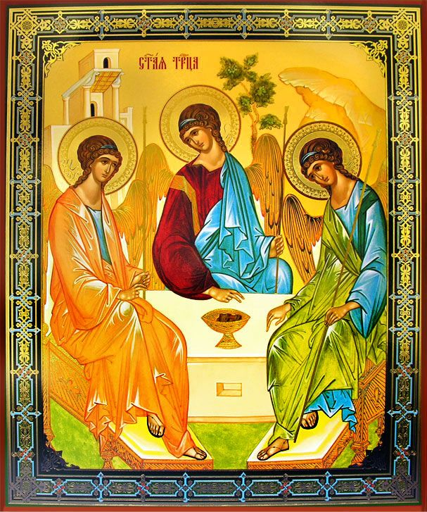 Old Testament Trinity - The Hospitality of Abraham, Orthodox Christian Icon  -  at Holy Trinity Store