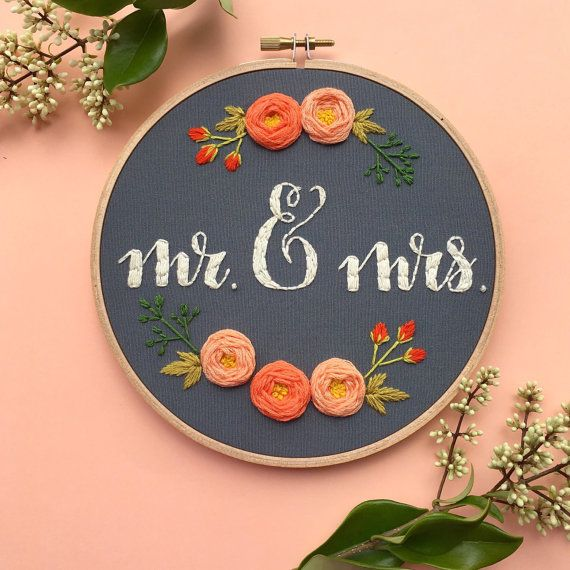 Mr. & Mrs. Embroidery Hoop Wedding by bugandbeanstitching on Etsy