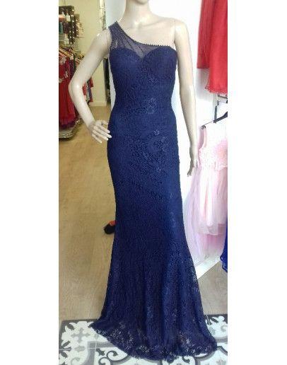 vestido encaje sirena azul marino escote asimétrico | vestidos