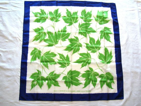 Canadian Girl Guide Scarf Retro Vintage Linen Green Maple Leaves Blue Border Girl Guides of Canada Scouts Jean Miller Scarf Pathfinders GGC