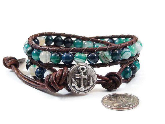 Sur Bracelet de cuir vente Agate rayée par JewelrybyKristineB