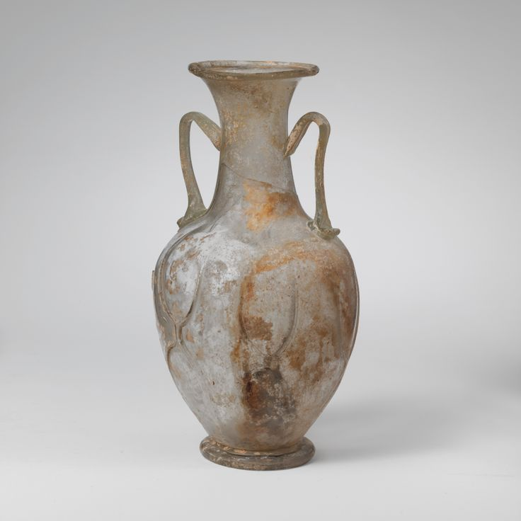 Glass amphora (two-handled bottle). Period: Late Imperial. Date: 4th century A.D. Culture: Roman. Medium: Glass; blown and trailed