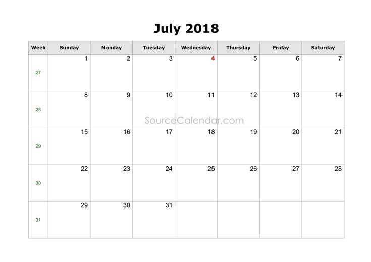 July 2018 Calendar Printable with Holidays PDF July 2018 Calendar Printable with Holidays PDF    https://sourcecalendar.com/july-2018-calendar
