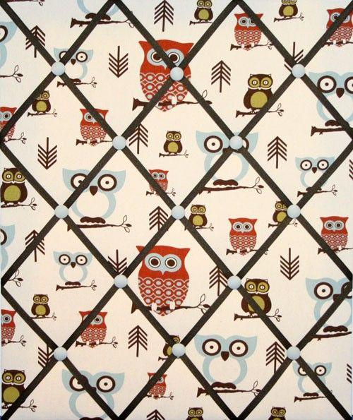 Hooty Owl Print French Ribbon Memo Picture Board. $29.99, via Etsy.