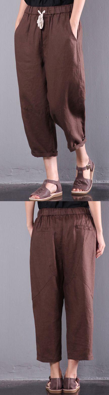loose linen pants plus size elastic waist crop pants
