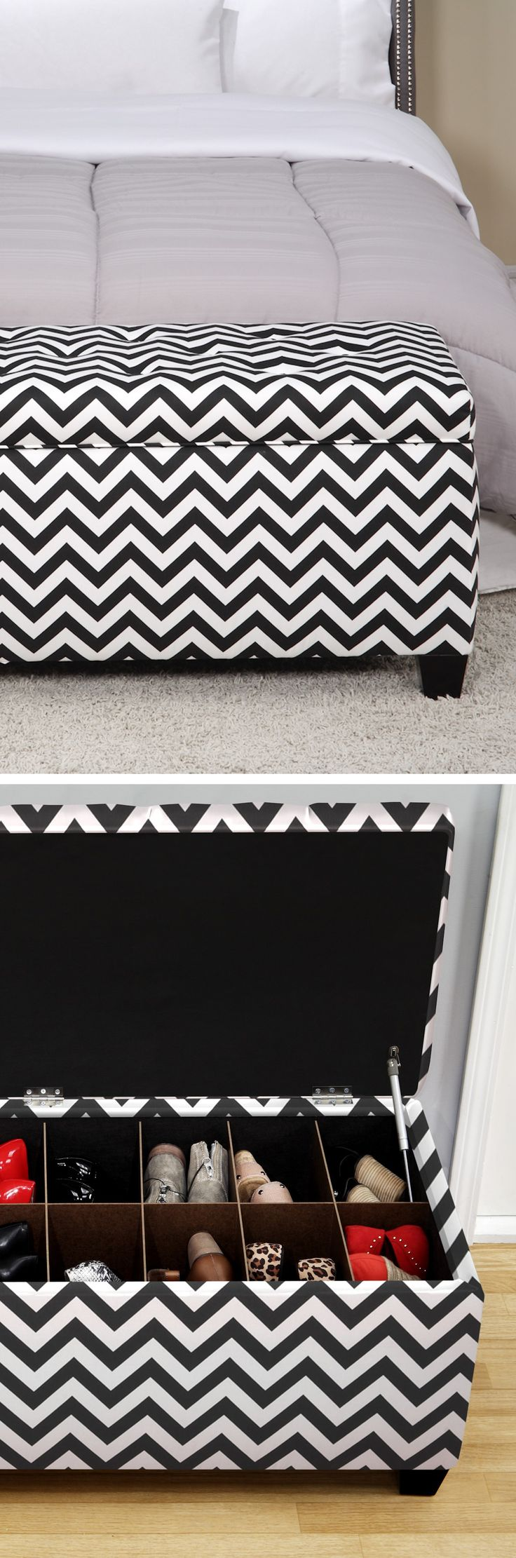 Chevron shoe storage ottoman bench // Need this! So perfect for bedroom or hall organisation