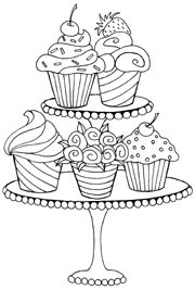 Cup Cake On Stands Drawings