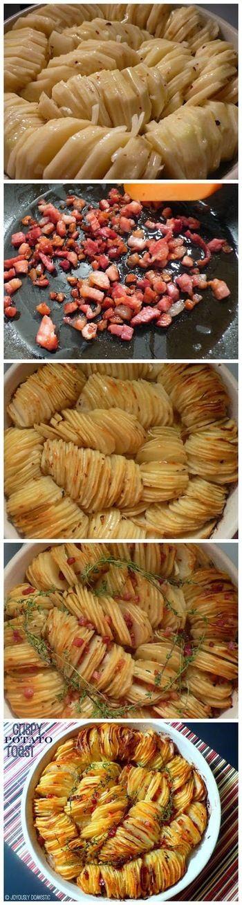①まずじゃがいもをできるだけ薄くスライスし、焼き皿に写真のように並べます。レシピによりますが、玉ねぎもしくはエシャロットのスライスなどをじゃがいもの所々に挟み込みます。全体に塩こしょうをふり、バターと油をはけで塗ります。予熱しておいたオーブンで約1時間25分程度焼きます。        ②じゃがいもを焼いている間にパンチェッタをフライパンで炒めます。(これもレシピによりますが、パンチェッタはよく使用されているようです。)          ③焼けたらじゃがいもをオーブンから取り出し、パンチェッタをじゃがいも全体に散らし、タイムをのせます。(他のハーブでもOK)          ④再びオーブンで約35分焼きます。            ⑤塩をふってあつあつを召し上がれ!サワークリームもよく合います。お好みで一緒にどうぞ☆