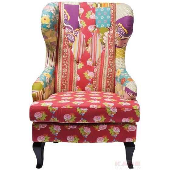 sessel patchwork 429 trendiger ohrensessel im bunten. Black Bedroom Furniture Sets. Home Design Ideas